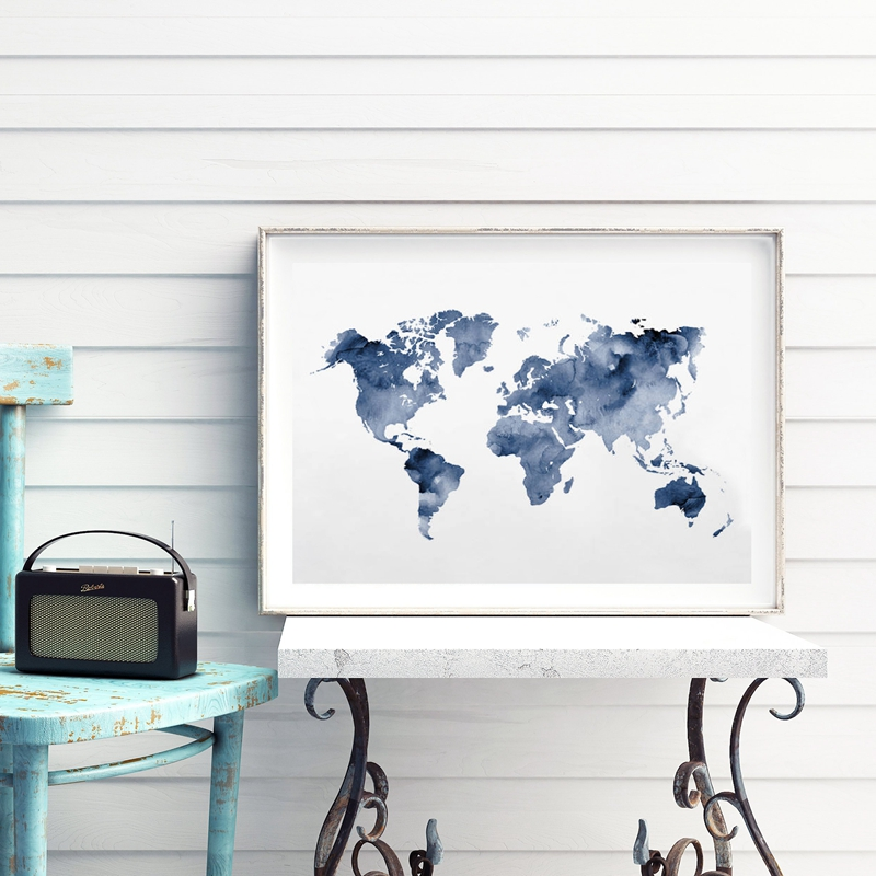 Blue World Map Print Navy Map Poster Traveler Gift Abstract Watercolor Wall Art Canvas Painting Picture For Living Room Decor
