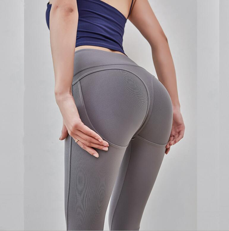 Elasticity Tight-Fit Running Fitness Leggings Women's High-waisted Slimming Sports Yoga Peach Hip Seamless Ninth Pants