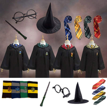 For Potter Kids Adult Gryffindor Robe Magic Ravenclaw Hufflepuff Slytherin Cloak Tie Scarf Wand Cape Cosplay Clothes