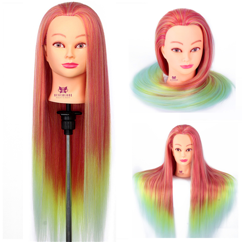 """26''-28"""" Long Fish Rainbow Hair Mannequin Training Head For Hairstyles Braiding Hairdressing Practice Model Wig Head Doll"""