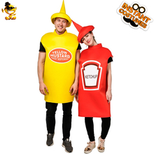 Yellow Mustard and Red Ketchup Costume for Couple Carnival Cosplay Party Fancy Dress Up Purim Role Play Funny Food Jumpsuit