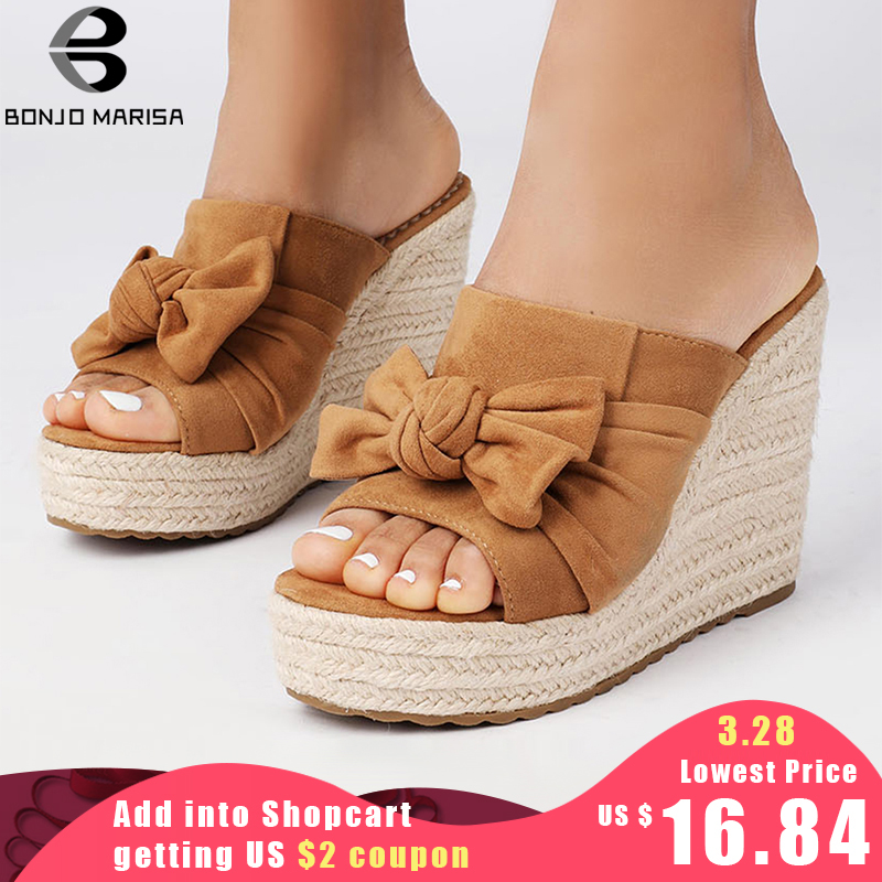 Sweet Butterfly Knot Slip On Sandals Fashion Summer Espadrille Wedge Heeled Shoes Woman Open Toe Platform Party Casual Sandals