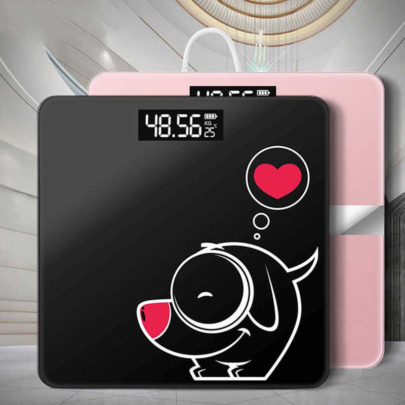 Nouvelle balance de poids numérique salle de bains étage balance corporelle verre balances électroniques intelligentes USB charge LCD affichage corps pesant maison