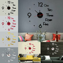 Large DIY Wall Clock 3D Stickers Roman Numerals Modern Home Silent