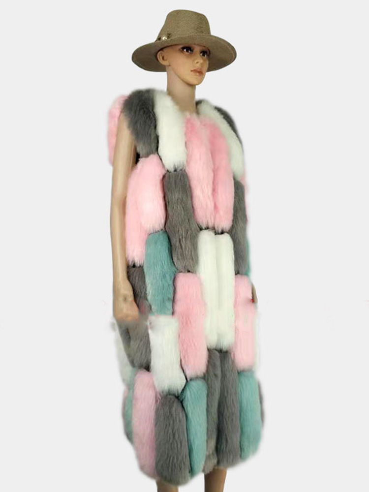 Color Fur Coat Woman Vest Fur Faux Covered Button Thick Maxi Fluffy Coat Jacket Elegant Plus Size Warm Sleeveless O Neck Casual in Faux Fur from Women 39 s Clothing