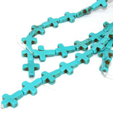 Natural Cross Turquoises Stone Round Loose Beads 38cm a Strand 12mmX16mm For Jewelry Making DIY Bracelet