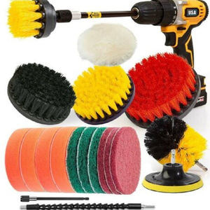 19PCS Electric Washing Brush Electric Drill Set Power Scrubber Screwdriver Scrub for Car Bathroom Kitchen Cleaning Tools