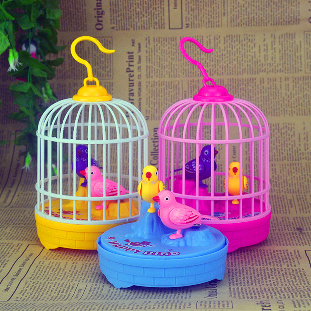 Mini Bird Cage Voice Control Bird Induction Electronic Toys For Children Interactive Game Simulation Singing Bird Kids Toys
