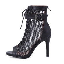 Mesh Cool Boots Women's Summer Short Boots Hollow Lace Net Boots Fish Mouth Small Size Thin Heel High Heel Dance Sandals Large