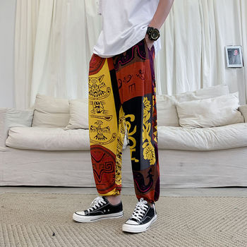 Men's trousers 2020 spring new slimming ethnic pattern printing nine-minute trousers long trousers casual young men's wear dt 05b stroboscope lamp with battery for printing machine 50 times minute 20000 times minute
