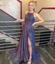 Женское вечернее платье с разрезом спереди фиолетовое на бретелях
