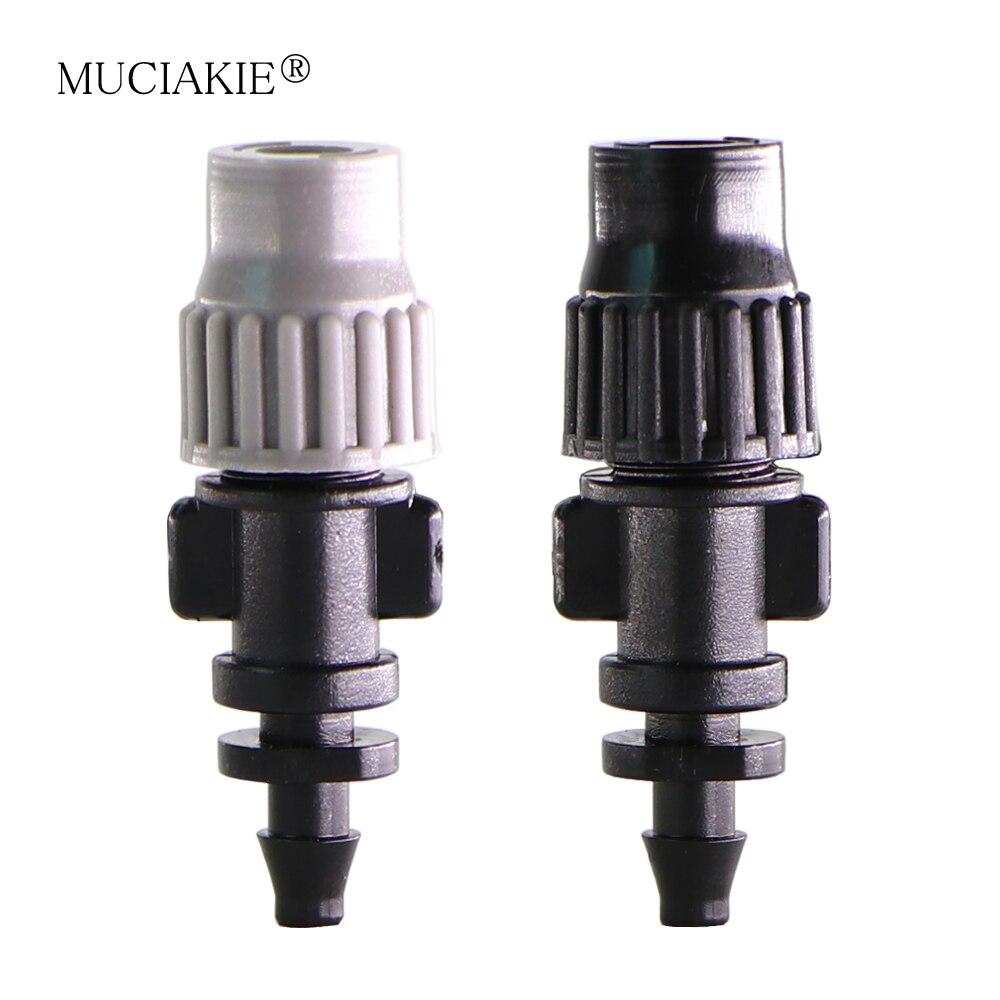 MUCIAKIE 20PCS Gray Black Adjustable Atomizing Nozzle Garden Irrigation Misting Micro Flow Dripper 4/7mm Hose Watering Sprayer