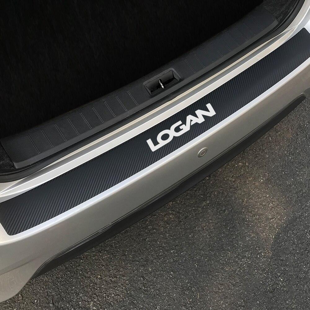 For Renault Dacia Logan Auto Carbon Fiber Protector Car Trunk Guard Plate Rear Bumper Protect Sticker Car Decoration Accessories