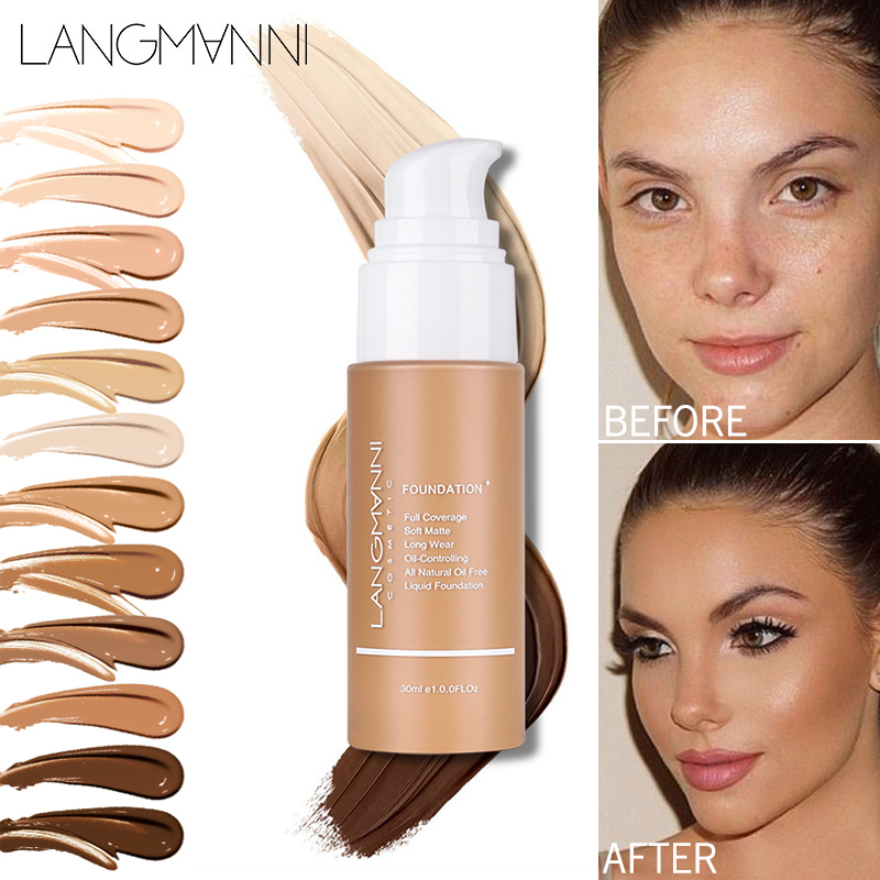30ml Smooth Matte Liquid Foundation Cream Dark Black Skin Full Coverage Makeup Bronzer Contourning Base Primer Face Concealer image