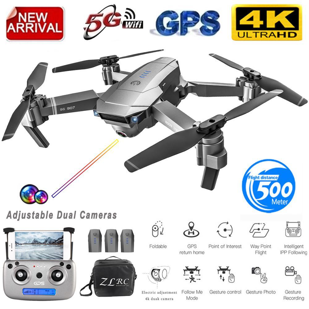 Drone GPS RCtown SG907 avec caméra 4K 5G Wifi quadrirotor à flux optique pliable Mini Drone caméra HD 1080P