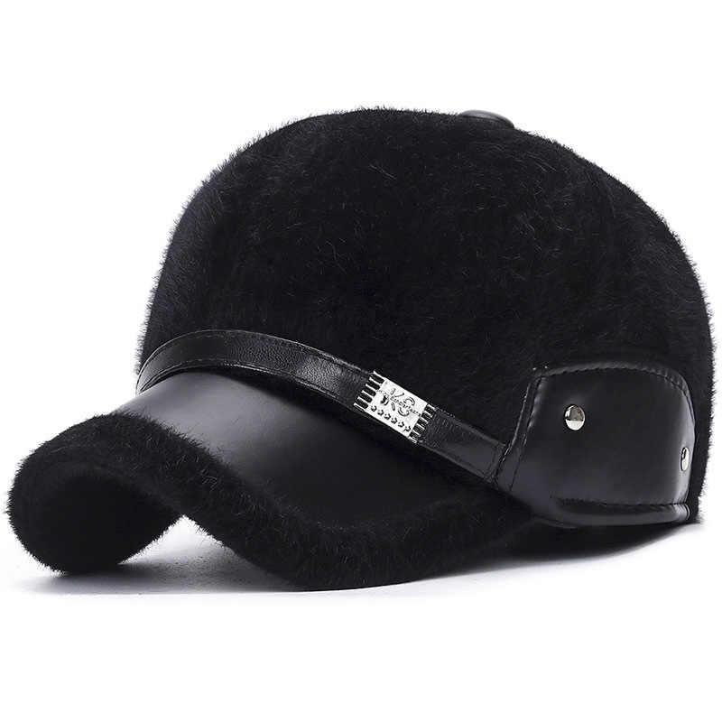 2019 Windproof หนาชายหมวกหมวกเบสบอล Faux Mink Fur หมวกฤดูหนาวกลางแจ้ง Casqutte Snapback Trucker หมวกพ่อหมวก