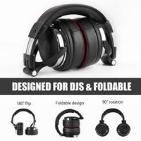 Oneodio profissional dj studio com fio monitores de fone ouvido sobre a orelha gravação fones estéreo para o telefone computador 5