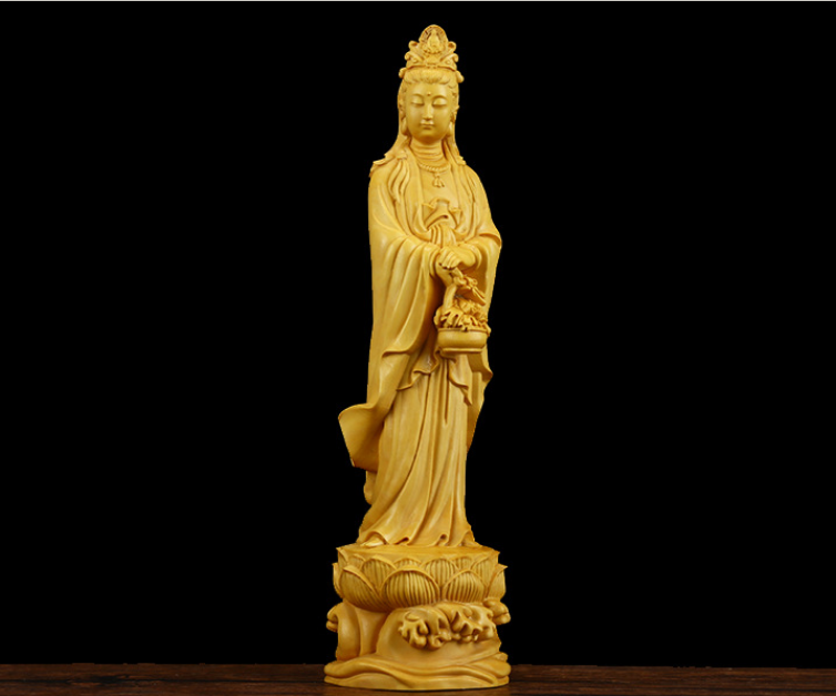 "5/"" Chinese natural Wood Carving Boxwood Guan Yin Kwan-yin Goddess Buddha Statue"