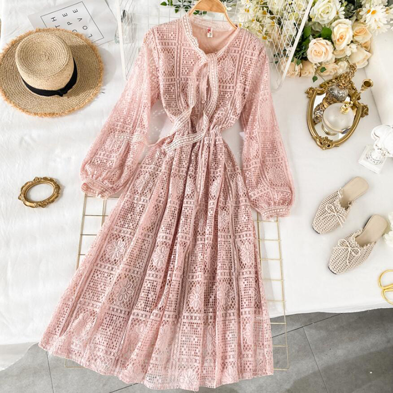 2020 Spring Pink Party Dress Women High Waist Bow Long Sleeve Sweet Lace Dress Elegant Lady A Line Long Dresses Vestidos