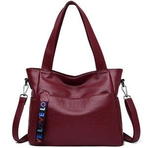 Image 2 - LONOOLISA фирменные сумки из натуральной кожи для женщин 2018, роскошные сумки, женские сумки, Дизайнерские Большие женские сумки на плечо, Основная сумка