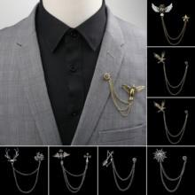 Man Suit Shirt Collar Tassel Brooch Eagle Angel Skull Anchor Badge Retro Pins Wedding Dress Party Neckware Accessories NO.28-57
