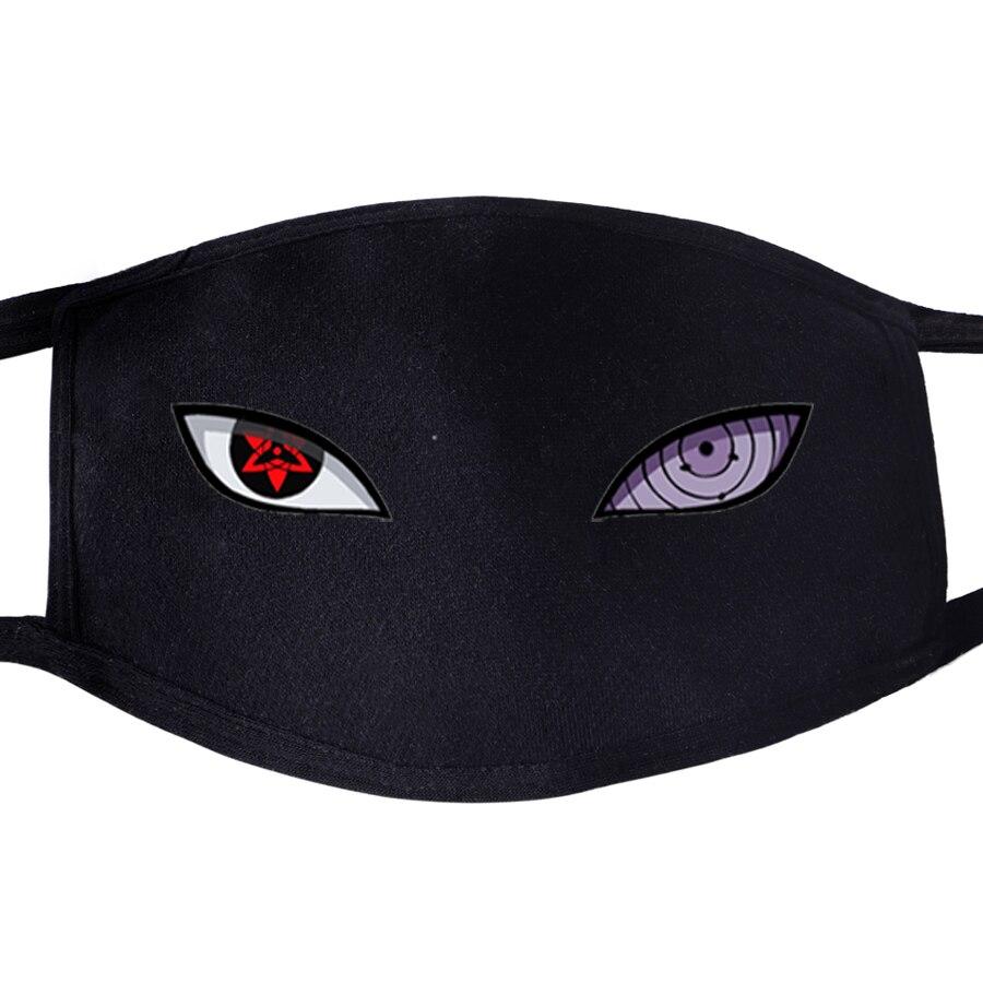 Naruto Uchiha Sasuke Eye Pattern Face Mask Mouth 1pcs Dustproof Unisex Anti Dust Respirator  Japanese Anime Masks