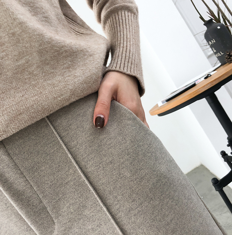 H9869a63e61b947ee90118f31ab2a5d40W - Thicken Women Pencil Pants Autumn Winter Plus Size OL Style Wool Female Work Suit Pant Loose Female Trousers Capris 6648 50