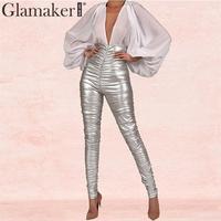 Glamaker Faux leather skinny pants Women pleated high waist streetwear elegant pencilpants Female autumnwinter party sexy pants