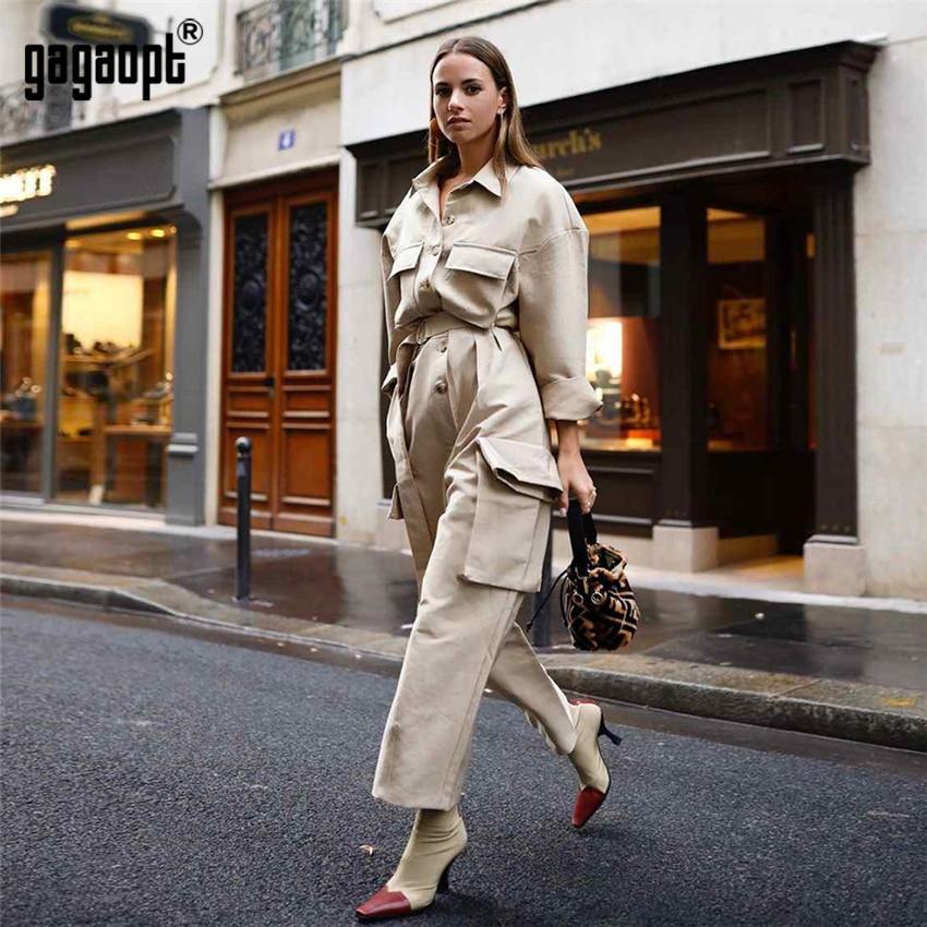 Gagaopt High Street Style Winter Jumpsuit Women Overalls Vintage Casual Khaki Long Sleeve Jumpsuits Pantalon Femme