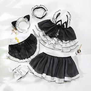Image 2 - Lolita uniforme chat mignon pour fille, uniforme de Lingerie transparente pour écolière femmes, Costumes Cosplay diable, tenue de sous vêtements Anime
