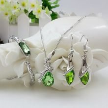 Женское Ожерелье из стерлингового серебра 925 пробы, серьги, набор подарков, красивые капли, австрийский кристалл, свадебный ювелирный набор S0103