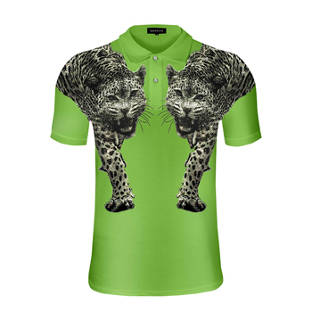 men's polo shirt fashion double tiger diamond lapel short sleeve shirt trend cotton European and American station Highstreet top
