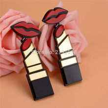 New Fashion Acrylic Red Mouth Lips Lipstick Drop Earrings For Women Hip-Hop Geometric Long Earring Nightclub Jewelry(China)