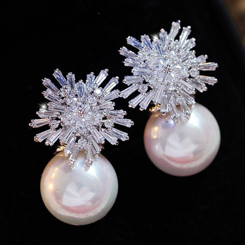 Fashion Snowflake Crystal White Pearl Earrings 2020 New Fastidiousness Jewelry Stud Earrings For Women Gift BFF