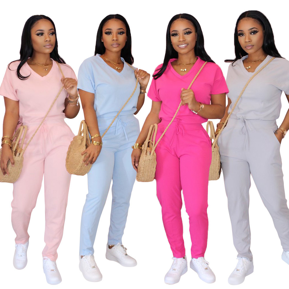 Casual Women Two Piece Set  Sportwear V-neck Short Sleeve Shirt +Pancil Pants Summer Clothes For Women Outfits Solid 4 Soild