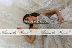 Image 3 - Abito דה sposa שמלת חתונת יוקרה דובאי חתונת שמלת 2020 עם ארוך תחרה רעלה אמנדה novias