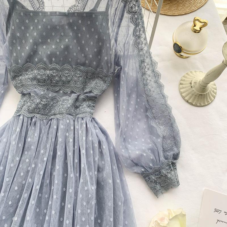 Lace Floral V-Neck Long Sleeve Polka Dot Dress 16