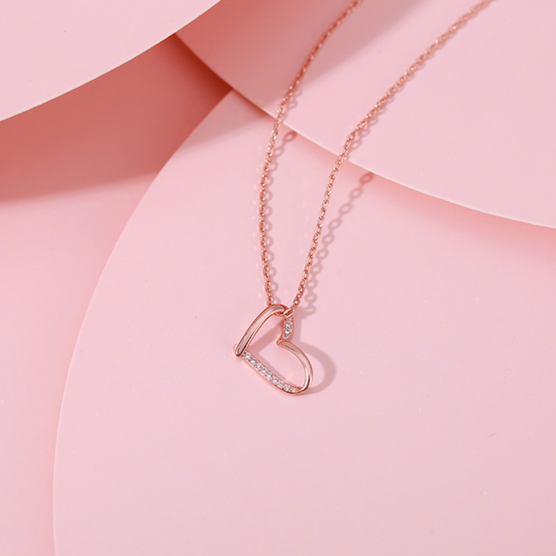 Fashion Jewelry 925 Sterling Silver Rose Gold Simple Personality Heart-shaped Clavicle Chain Pendant Necklace For Women