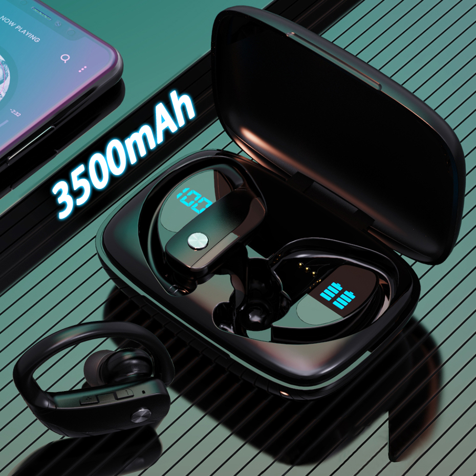 3500mah caixa de carregamento tws fone de ouvido sem fio bluetooth fones esporte jogos fones led power display música Fones de ouvido    -
