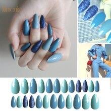 Съемные накладные ногти с полным покрытием 24 шт синие павлиньи