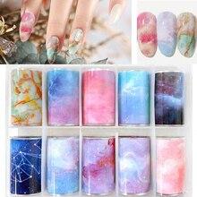 цена на 10Roll/Box Nail Foil Starry Transfer Paper Rainbow Sky Japanese Style Nail Foil Sticker Polish With Foil Starry-Gel Sticker Deca