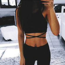 2019 Summer Women Crop Tops Sleeveless Sexy Bandage T Shirt Top For Fashion Black Lace Up Ladies Tanks