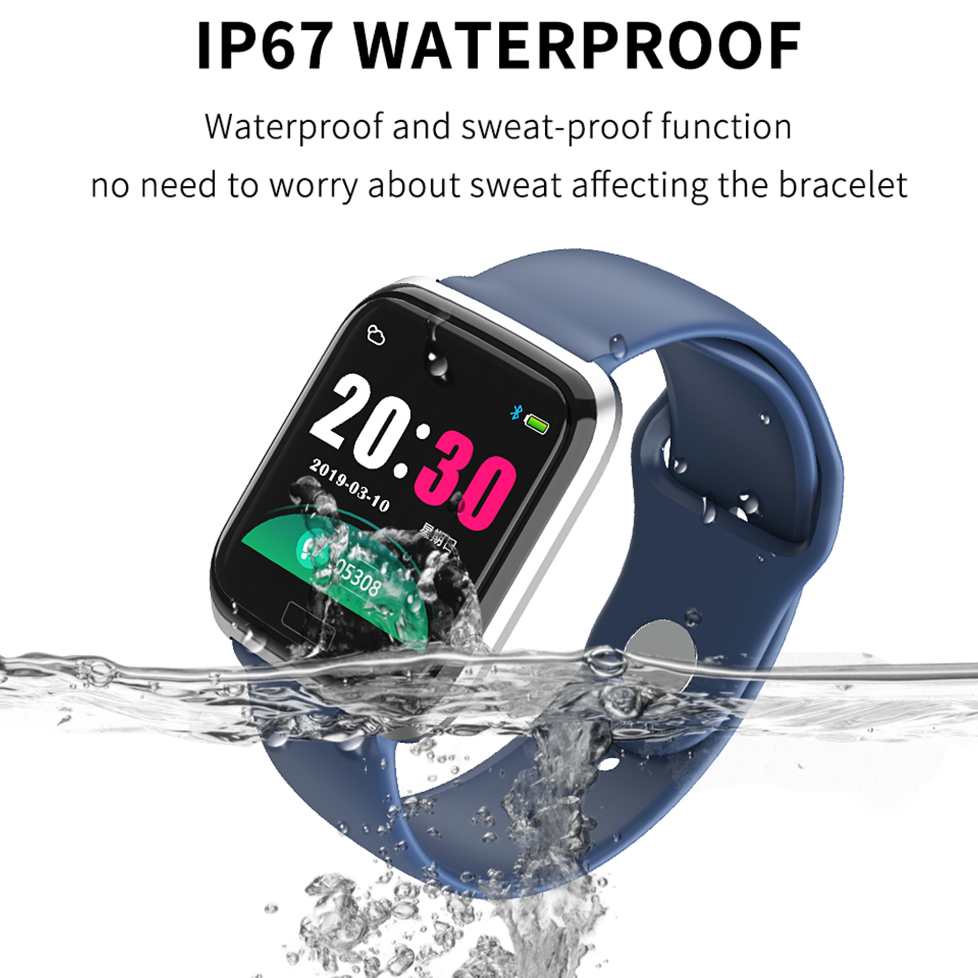 CY05 1.3 Inch Color Screen Smart Watch Bracelet Ports Waterproof Fitness Heart Rate Blood Pressure Health Step Remote Watch