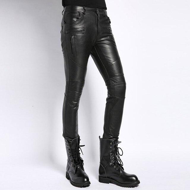 Genuine Leather Male Pants 2020 Autumn Korean Fashion Biker Casual Soft Slim Full Length Pant Straight High Street Trouser Man 1