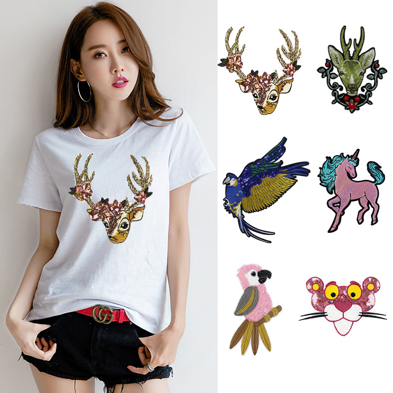 Fashion Cartoon Embroidered Animal Pattern Cloth Joker Clothes Decoration Holes Diy Deer Parrot Patch