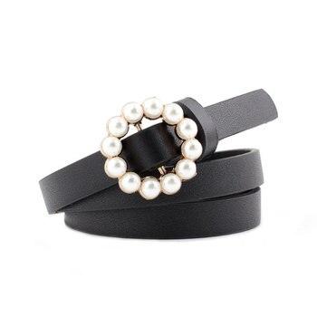 Cinturón de piel con perlas para Mujer, Cinturón fino y estrecho en...