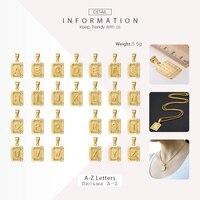 Initials Pendant Letter Name Necklace For Women Men Gold Silver Color Square Alphabet Charm Box Link Chain Couple Pendants GPM05 5