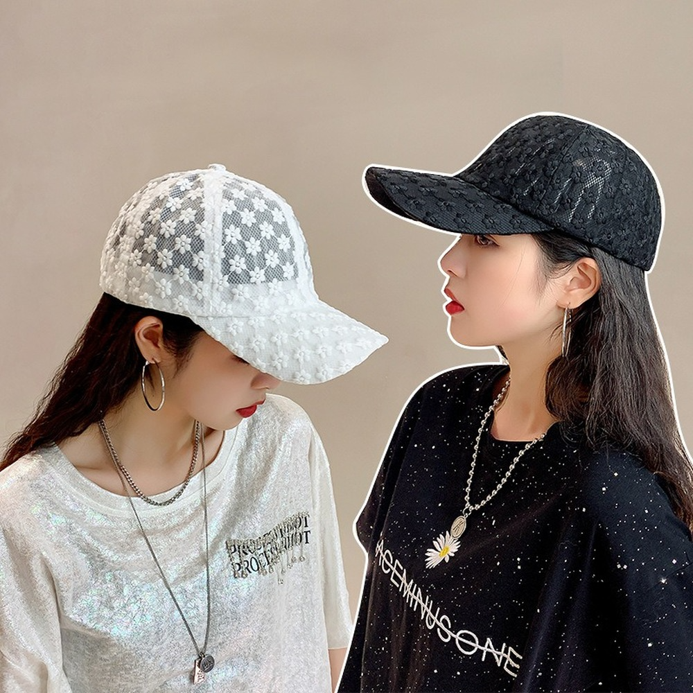 Women's Lace Hat Cotton Baseball Cap Breathable Mesh Floral Hat Girls Snapback Hip Hop Fashion Female Hats Adjustable Visor Caps