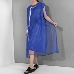 Image 2 - [EAM] جديد 2020 للربيع والصيف ، فستان قصير الاكمام مع فتحة مخططة باللون الازرق ، فستان كبير الحجم للنساء موضة WG9060