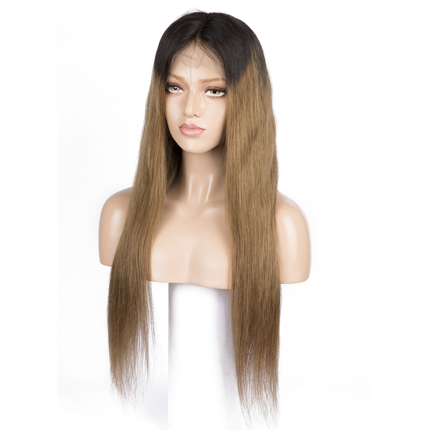 Ombre Blonde Full Lace With Fake Scalp Human Hair Wigs Virgin Straight Human Hair With Pre-Plucked Hairline Wig Baby Hair